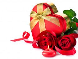 праздничные, день святого валентина,  сердечки,  любовь, свеча, сердце, коробка, розы