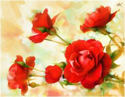 обои для рабочего стола 3300x2550 рисованные, цветы, розы