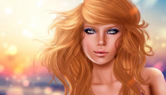 3д графика, portraits , портрет, девушка, фон, макияж, улыбка