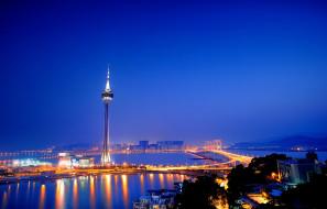 макао,  китай, города, - огни ночного города, китай, аомынь, башня, мост, море, синева, небо, ночь, подсветка, фонари, огни