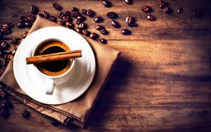 обои для рабочего стола 2881x1801 еда, кофе,  кофейные зёрна, чашка, блюдце, корица, кофейные, зёрна, салфетка, стол, напиток, царапины