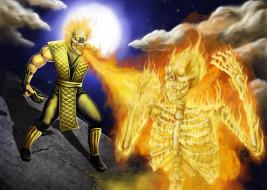 mortal kombat, видео игры, mortal kombat , 2011, скелет, череп, скорпион, ninja, scorpion, mortal, kombat, фаталити, огонь