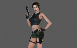девушка, видео игры, tomb raider,  legend, оружие, графика