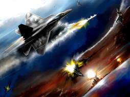 воздушная битва, авиация, 3д, рисованые, v-graphic, битва, китай, сша, самолеты, f-22, j-20