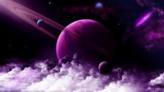 обои для рабочего стола 6930x3899 космос, арт, планета, нептун, облака, звёзды, галлактика, спутники, фиолетовая