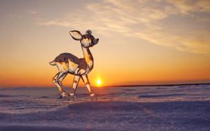 зима, снег, солнце, закат, скульптура, лёд, оленёнок