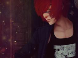 аниме,  gray-man, красные, волосы, повязка, парень, ди, грей, мен, майка, с, фото, искры, зелёный, глаз, lavi
