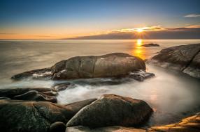 природа, восходы, закаты, горизонт, берег, камни, океан, солнце