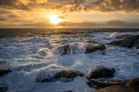 обои для рабочего стола 2048x1361 природа, восходы, закаты, камни, горизонт, берег, океан, солнце