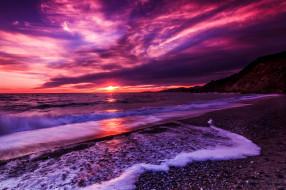 природа, побережье, море, пляж, закат, сиреневый