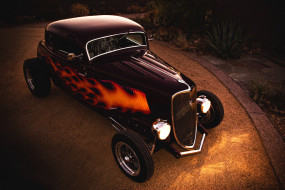 ford coupe 1933 hot-rod, автомобили, hotrod, dragster, хот-род, свет, ночь, купе, форд, 1933, hot-rod, coupe, ford, пламя