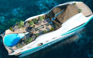 tropical island paradise - superyacht, корабли, 3d, остров, бунгало, бассейн, пальмы, вулкан, водопад, вода, тропический, суперяхта