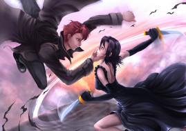 baccano, аниме, девушка, парень, битва, оружие, ножи