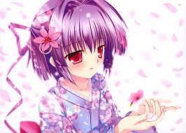 mikeou, аниме, девочка, лепестки, цветок, лента, для, волос