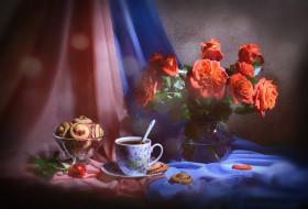 еда, натюрморт, печенье, чай, розы