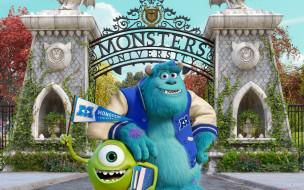 Monsters University обои для рабочего стола 2880x1800 monsters university, мультфильмы, университет, монстров, друзья, студенты, кампус, мультфильм, академия, корпорация, статуи, ворота