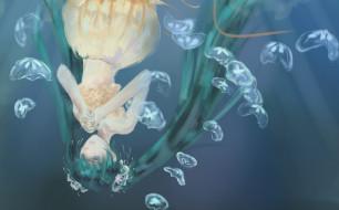 Vocaloid обои для рабочего стола 2480x1543 vocaloid, аниме, зеленые, волосы, вода, медузы, девушка, hatsune, miku