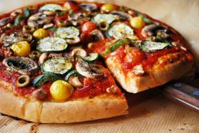 еда, пицца, начинка, лопатка, доска