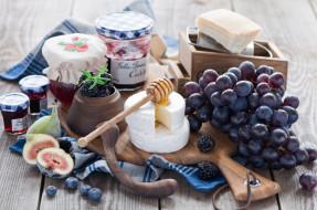 еда, разное, инжир, джем, сыр, виноград