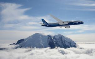 авиация, авиационный пейзаж, креатив, облако, самолёт, гора, боенг