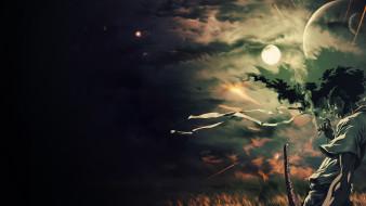 аниме, afro samurai, сигарета, луна, планеты, небо, меч, парень, курит, ночь