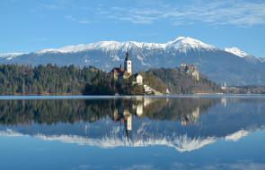 города, блед , словения, церковь, озеро