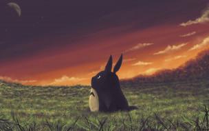 аниме, my neighbor totoro, трава, друг, дух, закат
