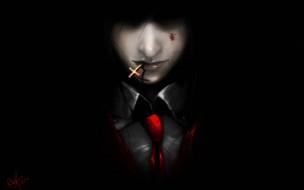 аниме, hellsing, лицо, галстук, крестик, мрачно, арт, парень