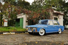 автомобили, ваз, жигули, заправка, листья, голубая, деревья, азс, гараж, двор, 2103, лада