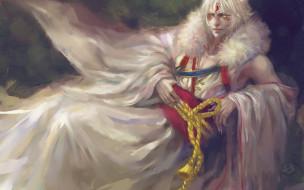 аниме, inuyasha, одежды, белый, лежит, парень, верёвка