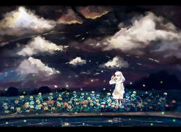 аниме, inuyasha, девочка, облака, небо, водоём, kanna, цветы, ночь, saik, светлячки, арт