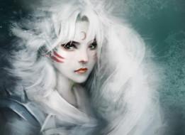 аниме, inuyasha, арт, crazy, cat, sesshomaru, girl, version, девушка, белые, волосы, месяц