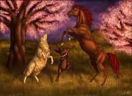 рисованные, животные, лошадь, кролик, овца