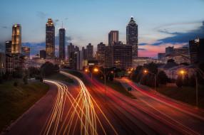 atlanta skyline, города, - огни ночного города, магистраль, высотки, заря, утро, огни