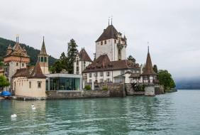 замок оберхофен , швейцария, города, - дворцы,  замки,  крепости, вода, замок