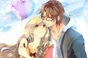 обои для рабочего стола 2480x1650 аниме, *unknown , другое, сердце, небо, очки, двое, воздушный, шарик, свидание, облака, влюбленные, парень, девушка