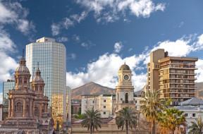 santiago,  chile, города, - столицы государств, chile, сантьяго, Чили, здания, пальмы
