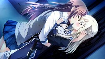 аниме, otome ga tsumugu koi no canvas, поцелуй, девушки