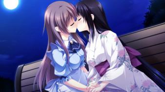 аниме, otome ga tsumugu koi no canvas, девушки, поцелуй