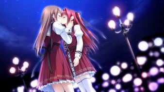 аниме, otome ga tsumugu koi no canvas, девушки, фонари, поцелуй, ночь