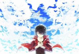 аниме, vocaloid, парень, оригами, птицы