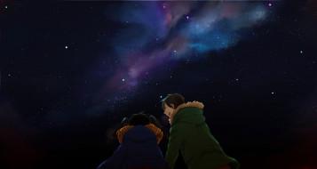 аниме, *unknown , другое, девушка, kokonose, haruka, парень, ночь, шарф, куртка, звезды, небо, enomoto, takane