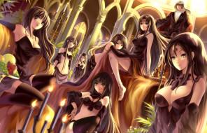 аниме, mikeou, парень, девушки, myhilary, art, гарем, свечи, фрукты, улыбки, взгляд