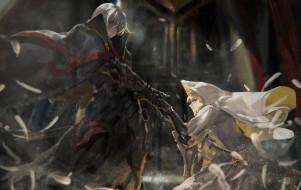 обои для рабочего стола 3501x2212 аниме, -weapon,  blood & technology, оружие, меч, капюшон, девушка, alcd, парень, арт