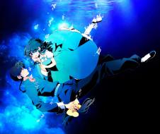 аниме, ranma 1, девушка, saotome, ranma, под, водой, падение, парень, tendou, akane, пузыри, маска