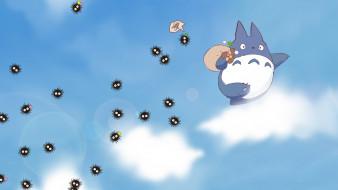 аниме, my neighbor totoro, дух, облака, друг, цветы, небо
