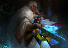 аниме, inuyasha, sesshomaru, арт, лес, глаза, магия, меч, парень