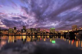 portland oregon, города, - огни ночного города, portland, огни, ночь, река, дома, небоскребы, oregon, орегон