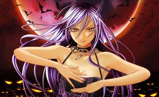 аниме, rosario   vampire, глаза, вампир, жемчуг, летучие, мыши, цепи, луна, девушка, ночь