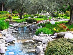 природа, парк, деревья, цветы, кусты, ручей